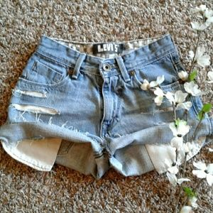 "Levis 23"" High Waist Distressed Jean Shorts"